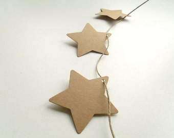 10 tags labels cardboard stars Kraft 6cm