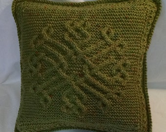 Hand Knit/Crochet Celtic/Aran Style Sweater Pillow 14""