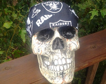 Oakland Raiders Skull Cap Helmet Lined Du Rag hat chemo cap surgical hat motorcycle biker head wrap NFL football Do Rag