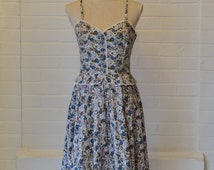 1950's style dress / floral/ peplum / lace / summer / 8/10 / retro / vintage /14 /party/ evening