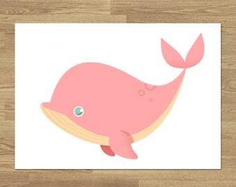 A6 Print - Pink Whale