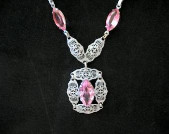 Vintage Pink Filigree Choker/Necklace
