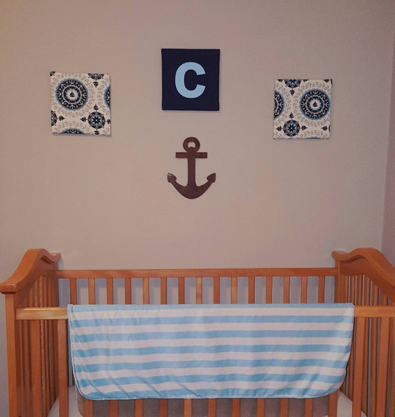 Nautical wall decor set, 10x10 sailboat & anchor fabric covered canvases with wooden anchor