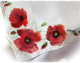 """Foulard """"Poppies"""" handpainted, ' ' 55x55-(Strangolino, red scarf, poppies, Hand-painted pure silk scarf, Neckerchief, Poppies)"""