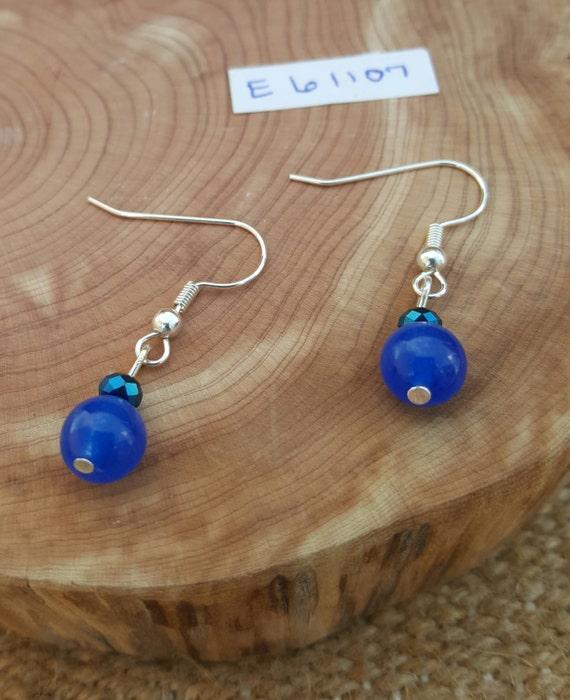Navy Blue Earrings / Blue Earrings / Navy Earrings / Dangle Earrings / Hippie Earrings / Boho Jewelry /E61107