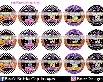 33% off SALE- INSTANT DOWNLOAD- Batty for Bows- 1 inch Bottlecap Images- 4x6 Digital Collage Sheet