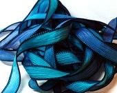 """1PC. MIDNIGHT 42"""" hand dyed wrist wrap bracelet silk ribbon//Yoga wrist wrap bracelet ribbons//Hand dyed Boho Silk wrist wrap ribbon"""