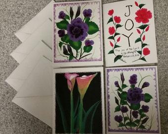 """12 Original Artwork Notecards 4 1/4"""" x 5 1/2"""" Set of Four Different Cards w/envelopes"""