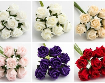 Bunch of 8 - 3cm Colourfast Foam Artificial Roses Wedding Flowers Bouquet