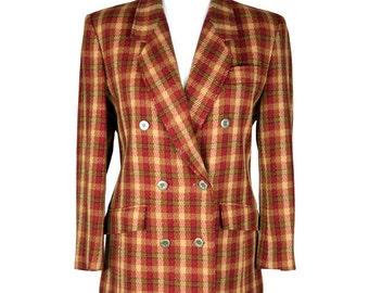 70s/80s Viyella Wool Plaid Blazer UK 12