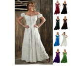 Cd12 White 100% Cotton Renaissance Medieval Clothing Costume Pirate Peasant Gypsy Wench Hippie Boho Beach Maxi Dress Sundress
