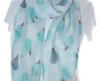 White hedgehog print scarf, Beach Wrap, Cowl Scarf, Hedgehog print scarf, cotton scarf, gifts for her