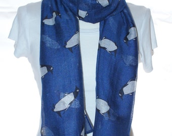 Navy blue penguin Scarf shawl, Beach Wrap, Cowl Scarf, navy blue penguin print scarf, cotton scarf, gifts for her