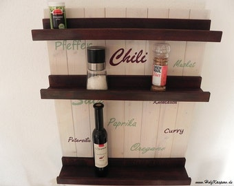 hand painted Spice rack made of wood for spices and oils