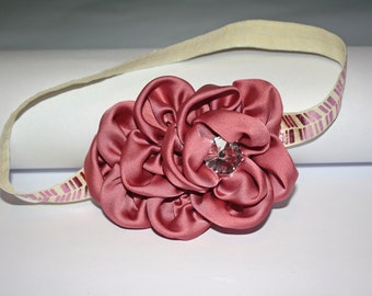 Vintage Rolled Rosette Headband 16 inches