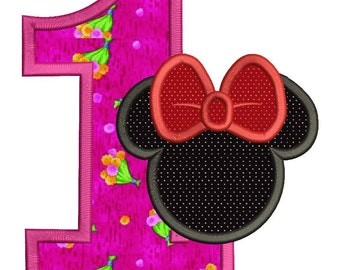 Minnie Mouse 1st Birthday Applique Machine Embroidery Design 3 sizes instant download