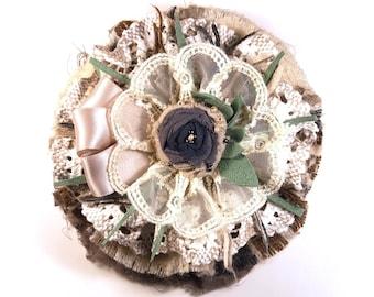 "Flower fabric brooch ""Ashes of roses"" fabric brooch textile brooch fabric pin flower pin brooch handmade brooch boho brooch vintage pin"