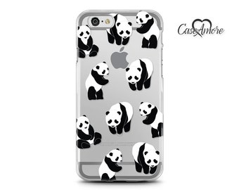iPhone 7 case, iPhone 6 case, iPhone case, Clear Rubber case, Galaxy S8 case, Galaxy S7 Edge case, Transparent S8 Plus case, Panda case