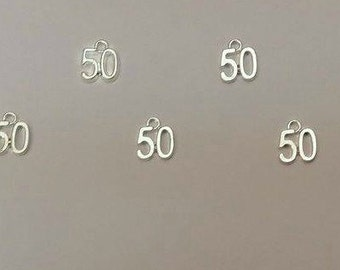 50 shades of Grey charm / 5 Number 50 charms / bulk number fifty charm / 50 pendant / 50th charm / golden anniversary / timecharm