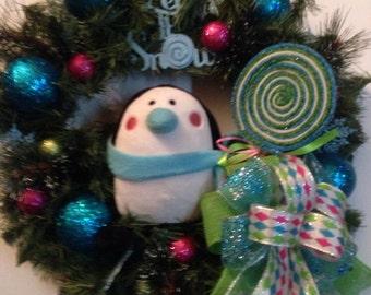 Christmas Penguin wreath