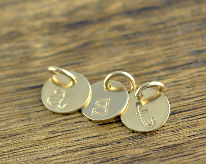 Gold Initial Charm, Personalized Initial, Add A Charm, Hand Stamped 14 kt Gold Filled Initial Disc, Gold Filled Letter