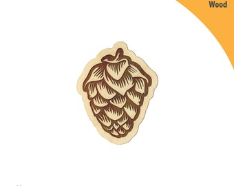 Engraved Hops Wood Cutout Shape, Laser Cut Wood Shapes, Crafting Shapes, Gifts, Ornaments Hops