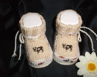 knitted baby shoes, baby shoes, baby socks, Babybooties * Rascal *.