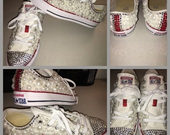 Bling converse (white and red)