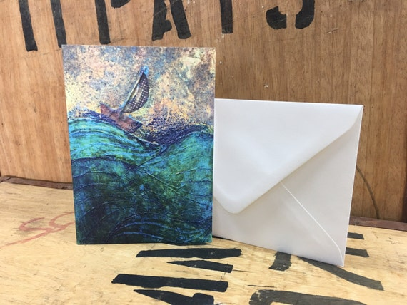 Rough Seas Card • Sailing Boat Card • Seaside Card • Cornish Coast • Stormy Sea • Sea Art • Collagraph Print • Nautical Card • Greeting Card