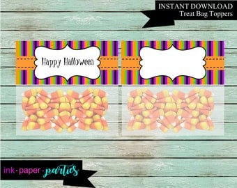 Halloween Party Favors Favor Candy Bag Treat Toppers - Digital File - Instant Download