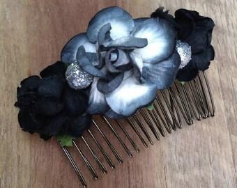 Black Floral hair comb, flower comb, Bridal comb,  bridal headpiece, bridesmaids comb, Bridal hair flower, Hair Accessories