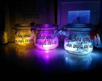Light up feather memory jar - feathers appear when angels are near
