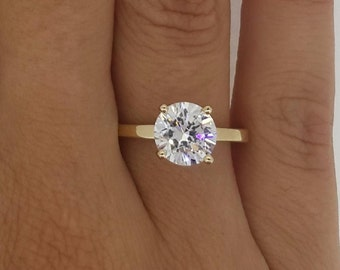 1.5 Ct Round Cut Diamond Solitaire Engagement Ring  VS1 F 14K Yellow Gold