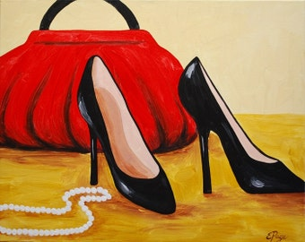 Purses Pumps Shoes Pearls Acrylic Painting