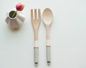 Modern wood kitchen spoon/fork set hand painted- pattern 6