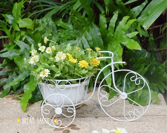 Vintage Tricycle Bicycle Design Wrought Iron Plant Stand Planter SizeM For  Outdoor Indoor Garden Decoration Flower