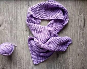 Purple Wool Scarf, Handknit Women Scarf, Winter Scarf for Women, Knit Girl Purplе Scarf, Wool Hand Knit Scarf, Chunky Scarf for Women