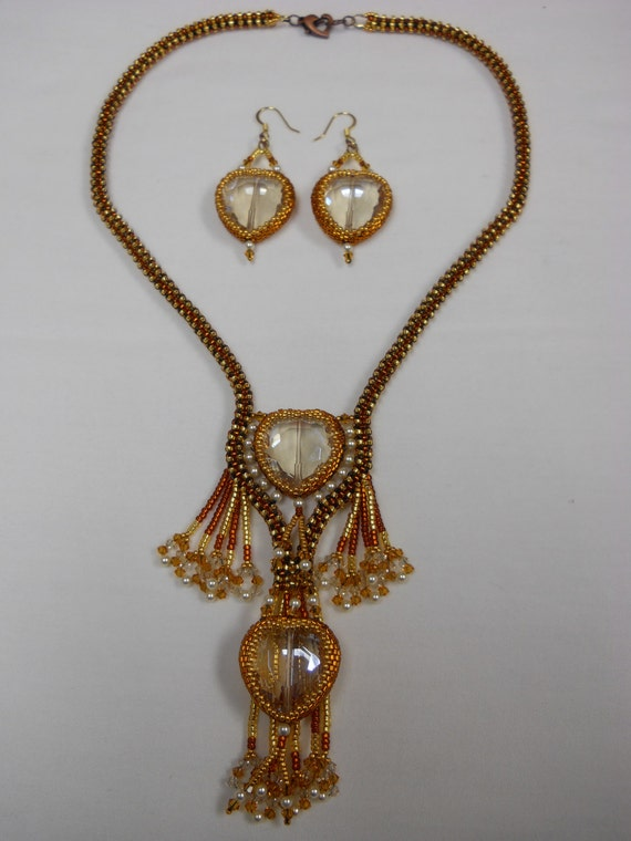 Swarovski Pearl, Topaz and Heart Shaped Crystal Necklace Set