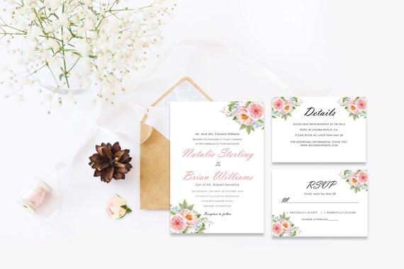 Floral wedding Invite_5,INSTANT DOWNLOAD, Editable Wedding template invitation. Microsoft Word template.Wedding Printable