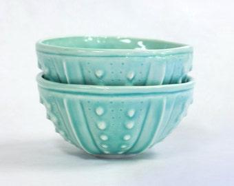 Aqua Blue porcelain bowls - set of 2 sea urchin ceramic pottery handmade bowls