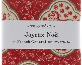 Joyeux Noel by French General for Moda Charm Pack, 40 - 5 inch squares; #13710PP