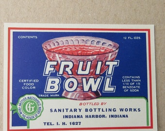 2 Labels Vintage Paper Label Fruit Bowl Beverages Vintage Ephemera #33