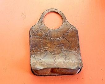 fake leather patchwork purse . creepy vinyl handbag looks like skin . 60s 70s purse . serial killer Halloween costume idea