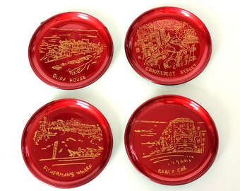 red vintage San Francisco coasters, made in Japan . Wood Lacquer Ware coasters set of 6 w original box, Golden gate Bridge, Fishermans Wharf