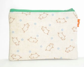Pig & Flowers Padded Zippy Pouch / Kawaii Card Holder / Linen Camera Bag / Cosmetic Case / Phone Case / Card Wallet - Other Colors Available