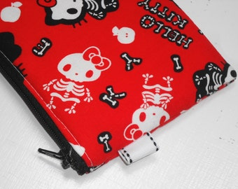 Sanrio Cat Skeleton Padded Zippered Coin Purse, Cosmetic Case, Card Wallet --- Other Colors Available