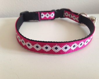 Pink black and White Aztec Cat Collar