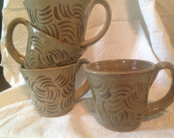 Tan Brown Pottery Mugs Four Handmade In Maine USA By Hippies 1970s Coffee Cups Vintage Kitchen Ware