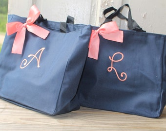 11 Personalized Bridesmaid Gift Tote Bags Personalized Tote, Bridesmaids Gift, Monogrammed Tote