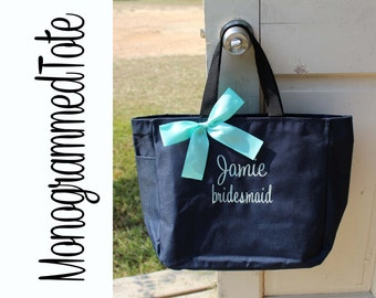 5 Personalized Bridesmaids Gift Tote Bags Monogrammed Tote, Bridesmaids Tote, Personalized Tote Wedding